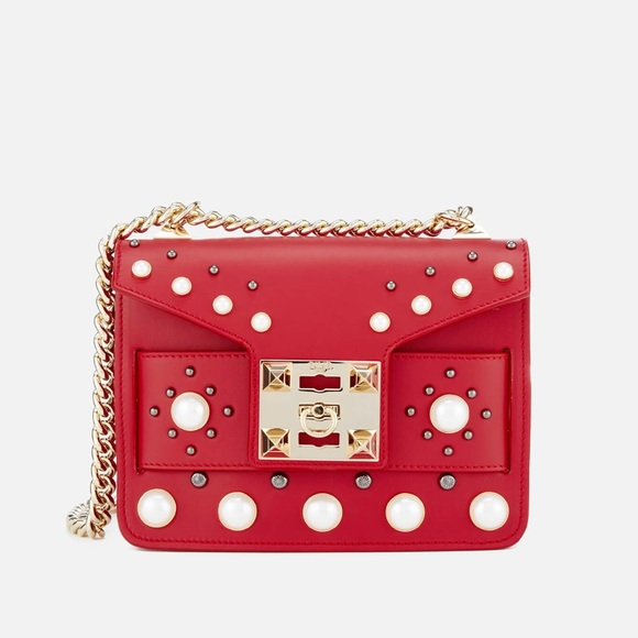 Salar Milano Handbags - Salar Mila Pearl Bag Red - crossbody or shoulder